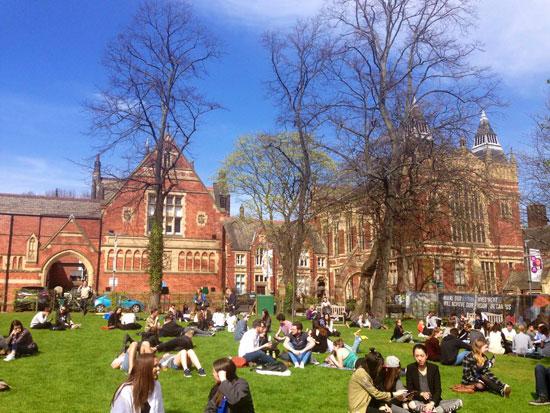 英国利兹大学,同学们在草坪上晒太阳。胡曼/供图