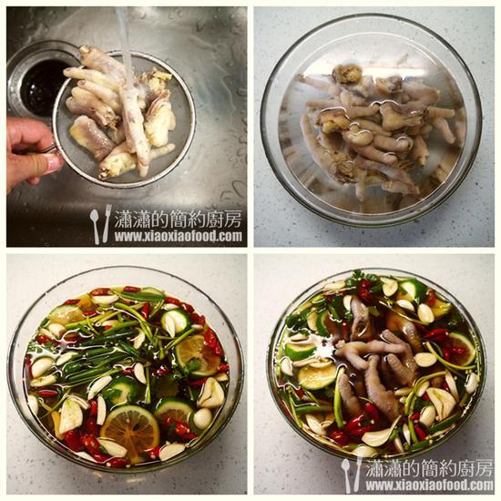 4、鸡爪捞起,反复用流水冲洗去血沫、油脂。