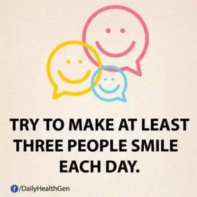 18. 尝试每天让至少3个人微笑。