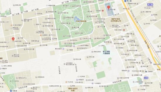 红点1是百度大厦,红点2是百度科技园,在图右下角,就是上地实验小学。