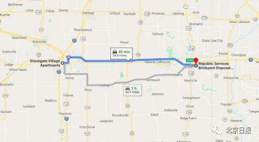 从凶手家到该郡填埋场之一的路径,驾车约42分钟