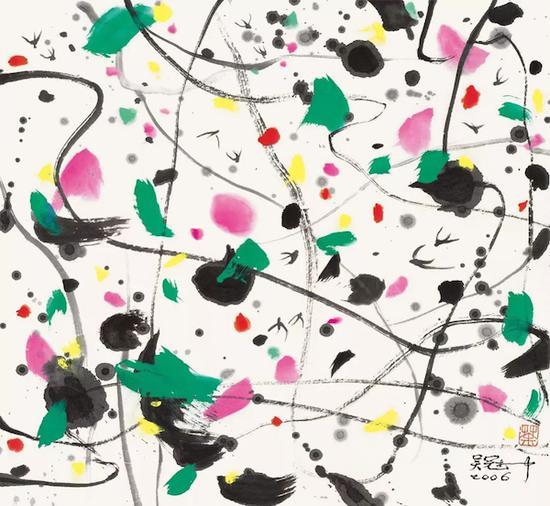 《燕子》,吴冠中,水墨设色,44x48cm,2006年