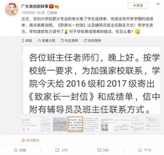 深圳大学还在官方微博发起互动话题,把成绩寄到家,你有什么看法?