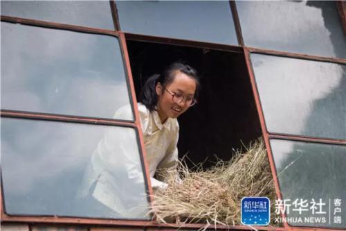 在云南省曲靖市会泽县,仇文飞在收整喂牛的干草(8月29日摄)。新华社记者 胡超 摄