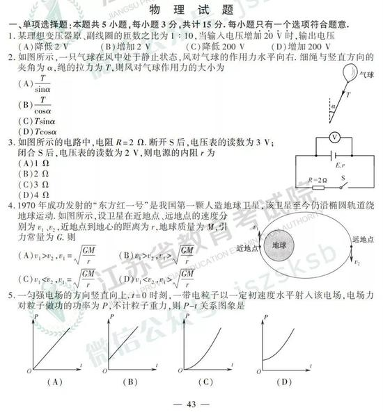 2019年高考物理真题及参考答案(江苏卷)
