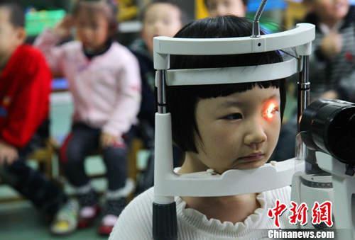 资料图:眼科医护人员在检测孩子们的视力。中新社发 韩苏原 摄