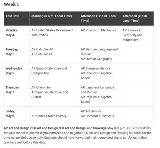 2020年AP课程考试时间表正式出炉