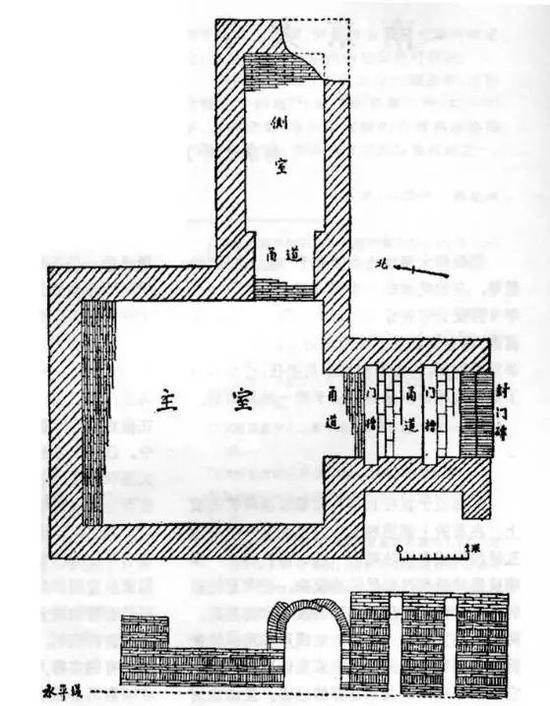 南京大学北园东晋大墓示意图