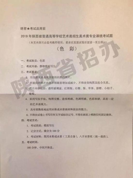 2019年陕西省普通高校艺术类招生