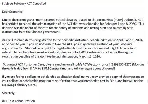 2月份ACT考试取消,已报考者可免费改到下个考