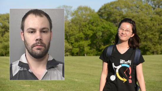 图右:中国访问学者章莹颖;图左:嫌犯克里斯滕森。(图源:芝加哥世界之窗电视台)