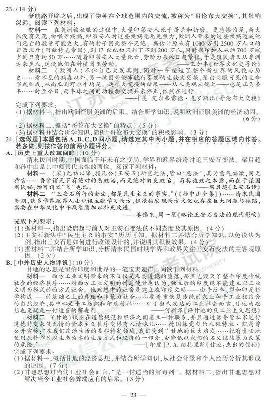 2019年高考历史真题及参考答案(江苏卷)