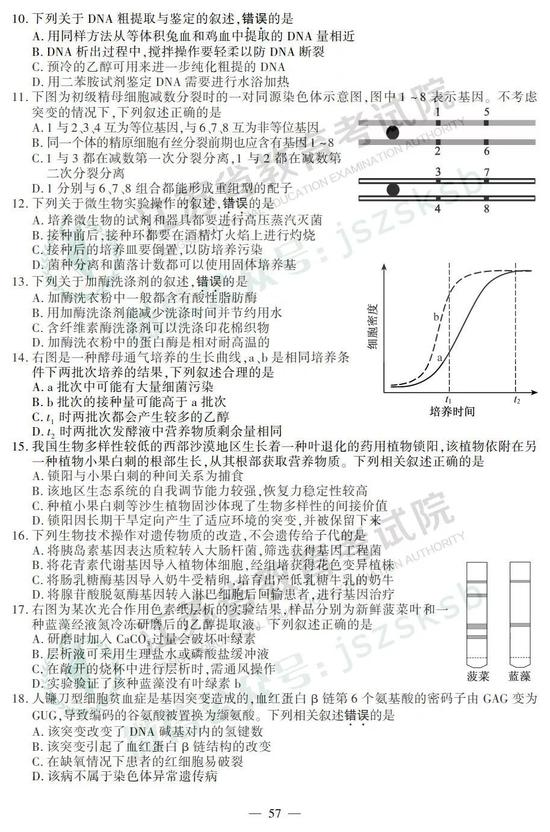 2019年高考生物真题及参考答案(江苏卷)