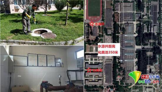 北京工业大学耿丹学院公布的化粪池(左上)与饮用水源(左下)照片。