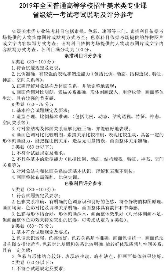 黑龙江2019年高校艺术类专业招生专业课考试说明及评分参考