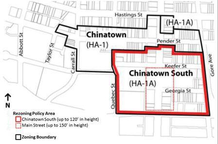 市政府把华埠划分为两大区。(图片来源:加拿大《明报》,温哥华市政府图片)