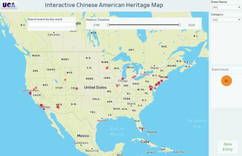 记录美国华人历史地理图标的可视化数字地图。(张小彦供图于美国《世界日报》)