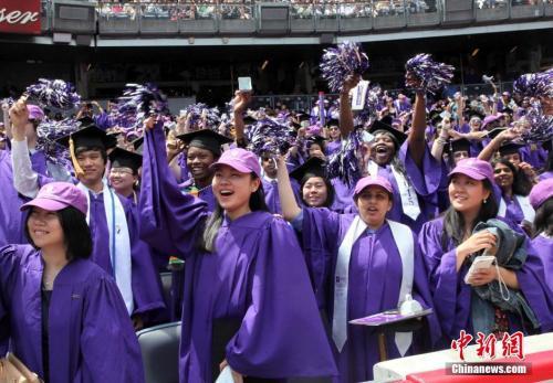 资料图:纽约大学的毕业生们。(图片来源:中新社发 阮煜琳 摄)