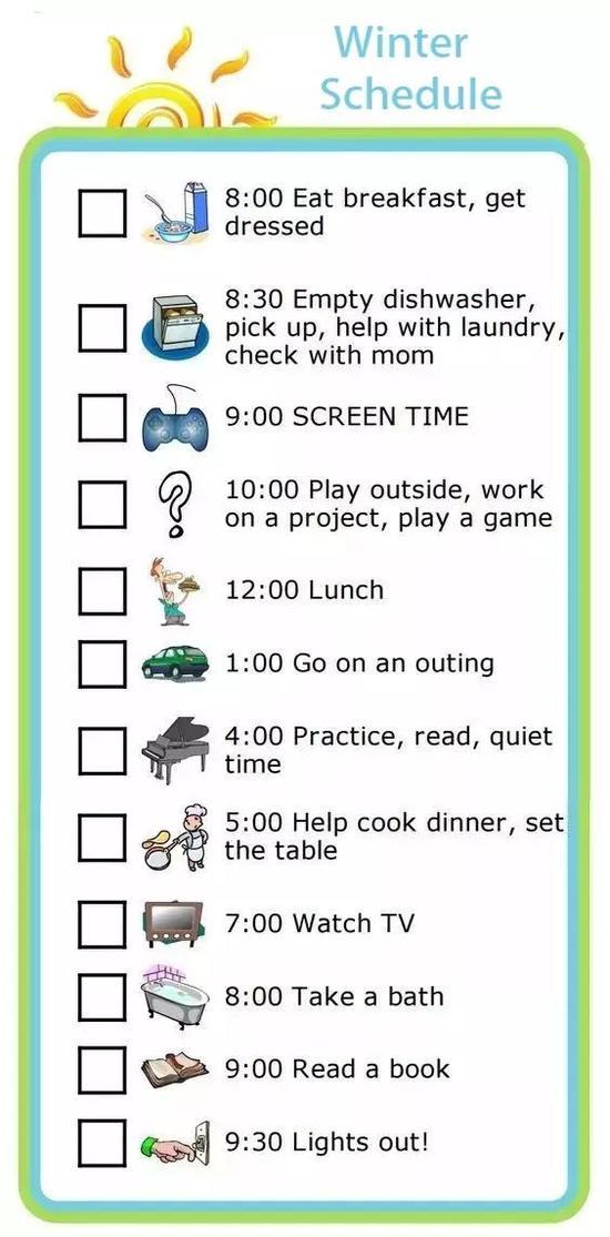 还可以制作成一周的日程表,每天安排不同主题的内容,多方面培养孩子的技能。