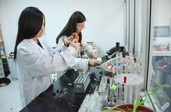 山东聊城大学化学化工学院实验室内,不少教师、学生利用寒假继续留校做实验。视觉中国 图