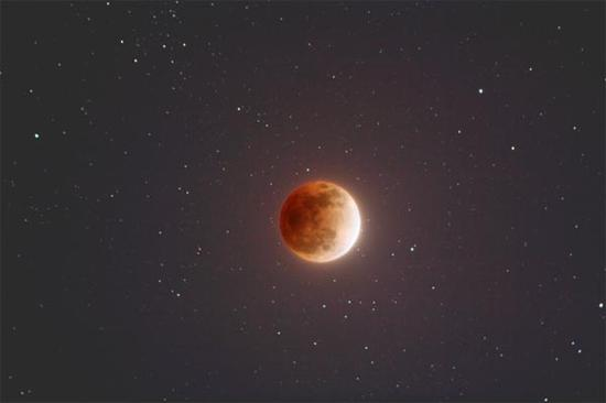 An illustration of a super blue blood moon from NASA.