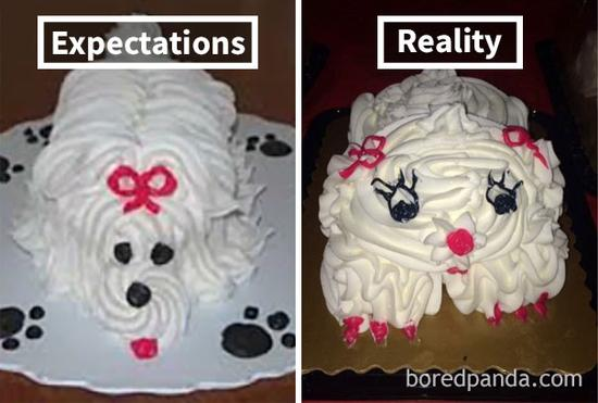 18.Ordered cake on left, received cake on left.