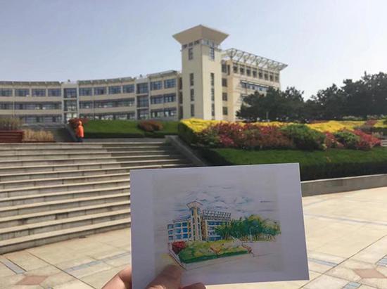 用在包装上的校园风景手绘图