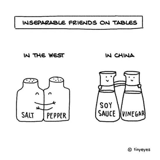 在西方,盐和胡椒粉可是必不可少的餐桌伴侣,在中国,酱油和醋不可或缺。