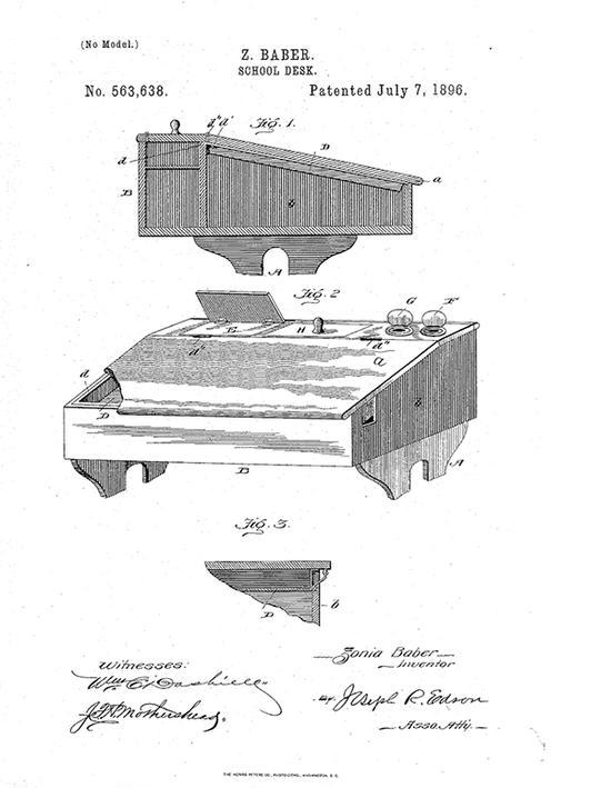 巴伯甚至还为地理学学生设计专用课桌,申请专利。USPTO 图