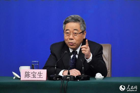 图为教育部部长陈宝生。 人民网记者 于凯 摄