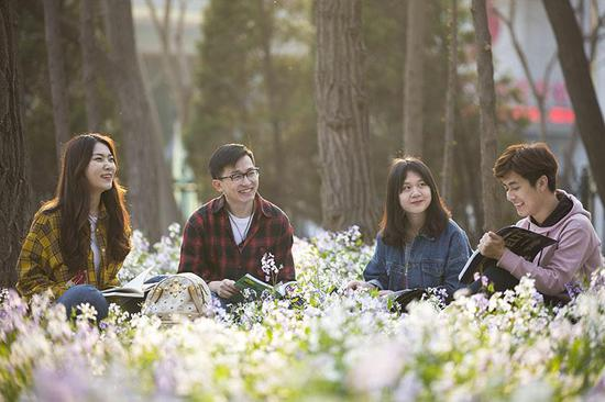 草坪边,鸟语相伴清风相随,三五好友走进书的世界,畅谈书中智慧。大连理工大学