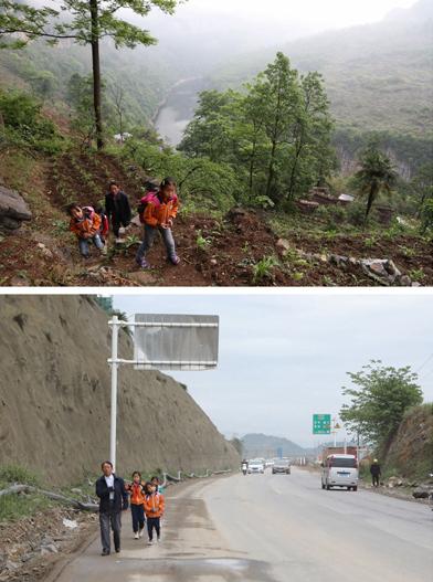 上图为教师杨绍书和学生们在崖壁上的小路行走,他们的身旁是六冲河峡谷(4月27日摄); 下图为教师杨绍书和学生在县城公路上行走,前往新学校(5月7日摄)。
