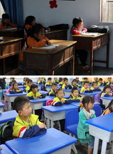 上图为7岁的李晓彤(右一)在华山小学教室内晨读(4月27日摄); 下图为7岁的李晓彤(前排左二)在黔西县第十小学教室内上课(5月7日摄)。