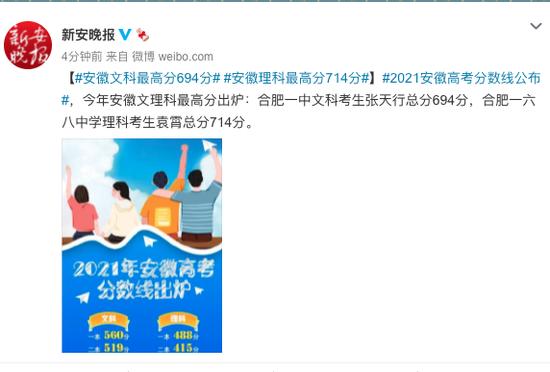 安徽2021年高考文科最高分694分 理科最高分714分