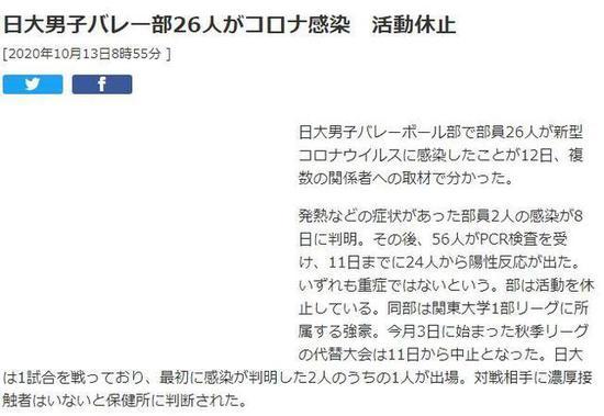 日本大学男排26人感染新冠 球队已停止一切比赛