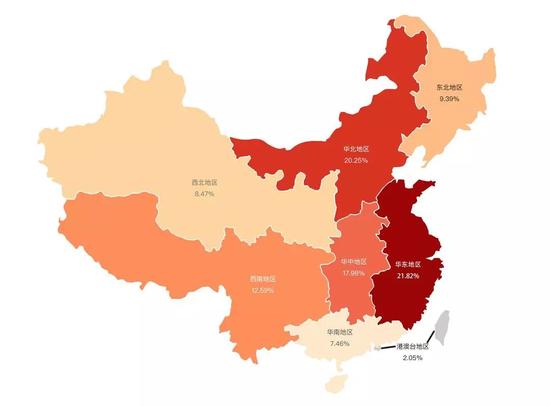 清华2018级新生国内地区分布