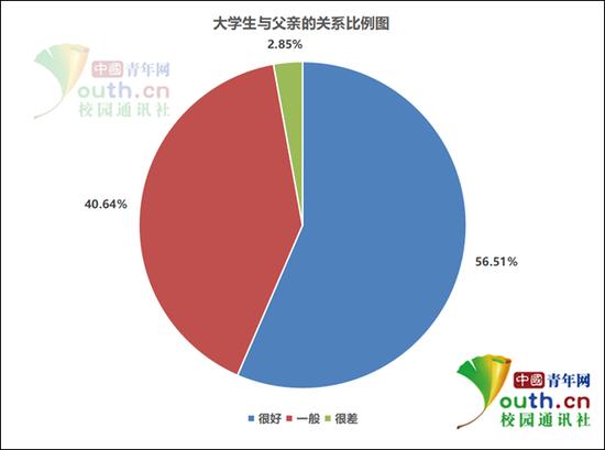 图为大学生与父亲的关系比例。中国青年网记者 李华锡 制图