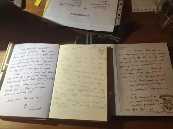 许女士夫妇写给女儿、儿子的英文家信。
