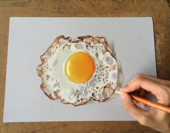 印度画家打造3d手绘 煎蛋灯泡难分真假(图)