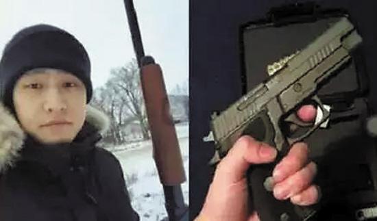 留美学生倪某在社交媒体上发布的持枪照(图片来源网络)