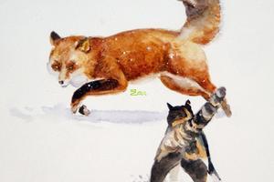 英语童话故事:猫与狐狸(中英文对照版)