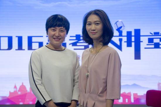 山东大学招办主任柳丽华(左)