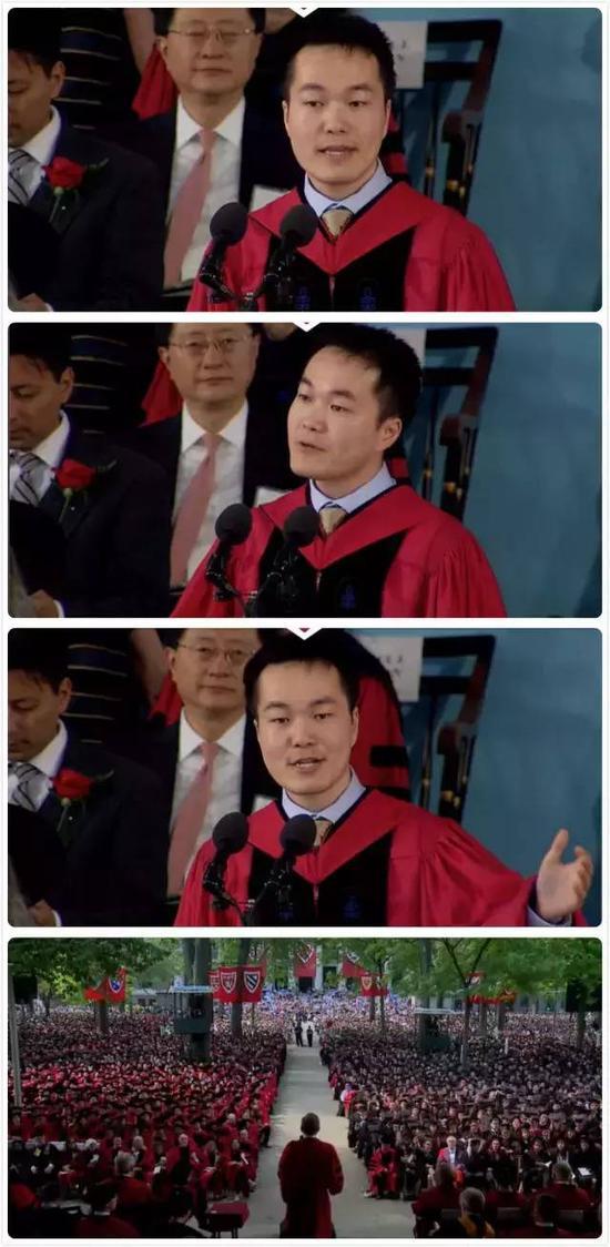 大陆留学生何江在哈佛毕业典礼上作为代表演讲