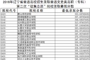 2016辽宁高职专科第二次征集志愿录取最低分数