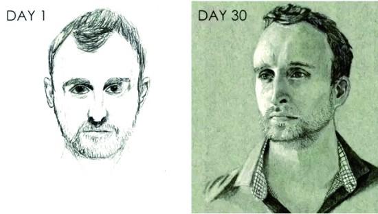 斯科特·扬学习自画像绘制前后的作品对比