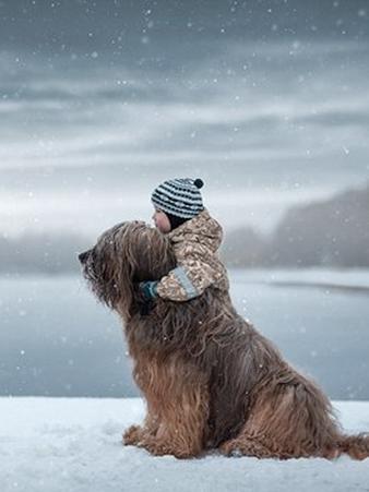 大狗狗和小朋友的可爱照片