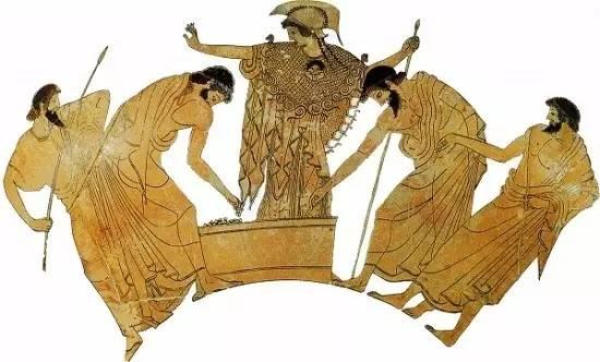古希腊武士在女神雅典娜的监视下用石子投票表决