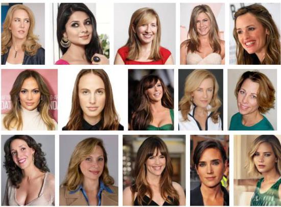 你在Google Image上搜索Jennifer这个名字会出现的明星照片们