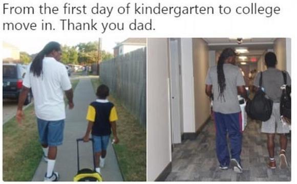 美国大学生晒老爸13年前后送其上学对比图