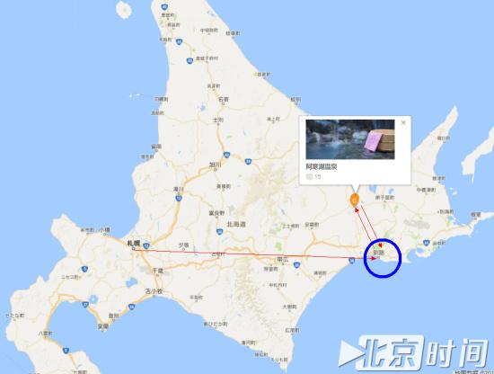 (危秋洁失联前行程路线及8月27日警方发现年轻女性遗体海岸位置图/地图截屏)